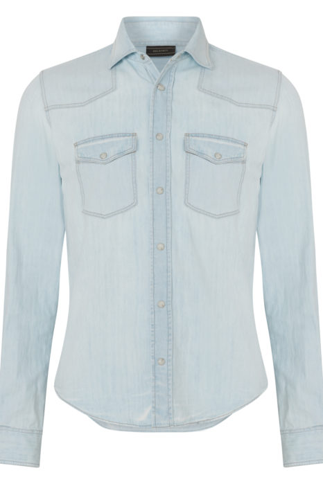 Belstaff Men's Someford Bleached Denim Shirt Blue FRONT