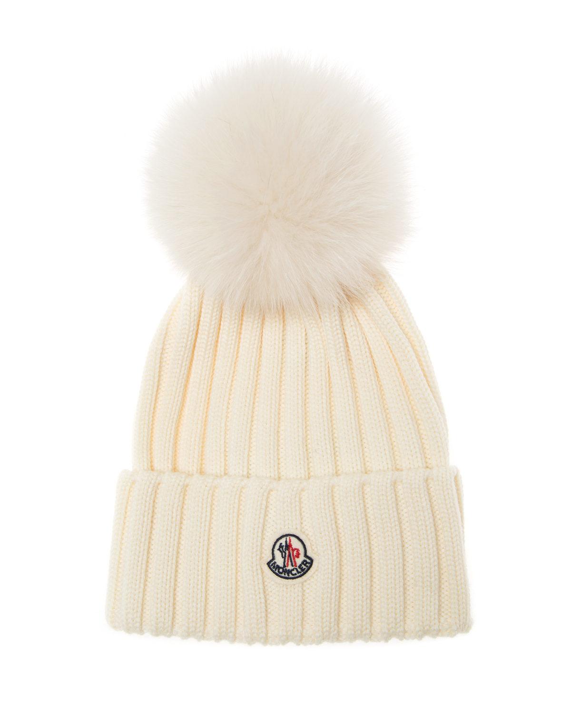e81bd7412f1 Moncler Women S Fur Pom Beanie Hat Cream Linea Fashion
