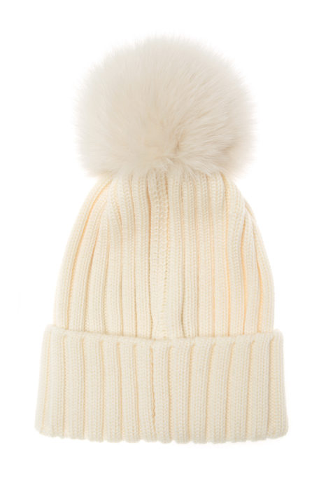Moncler Women's Fur Pom Pom Beanie Hat Cream