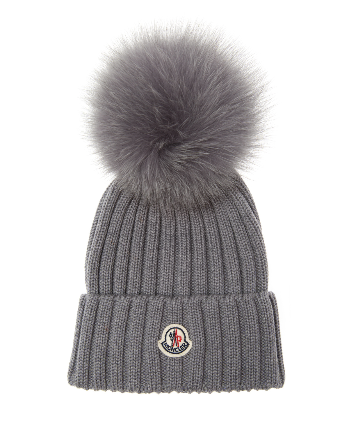 Moncler Women s Fur Pom Pom Beanie Hat Grey 85868 1 - Linea Fashion 3b123ab398