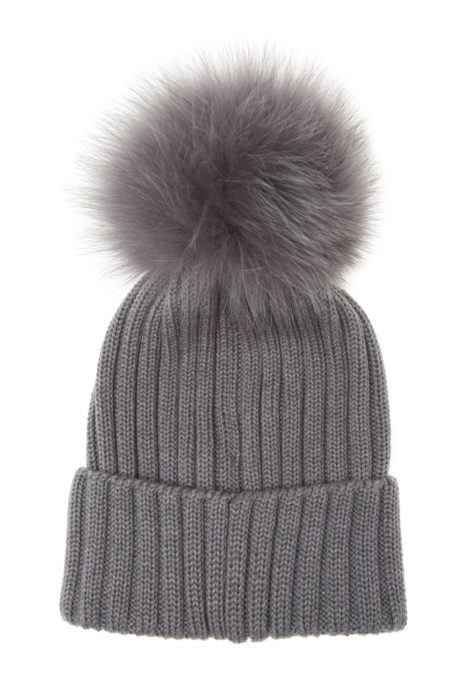 Moncler Women's Fur Pom Pom Beanie Hat Grey