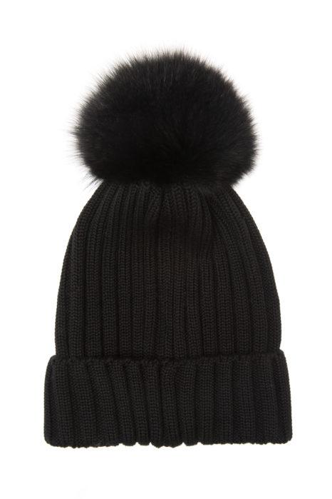 Moncler Women's Fur Pom Pom Beanie Hat Black