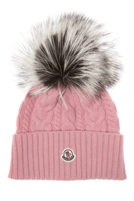 Moncler Women's Cable-Knit Beanie Hat Pink