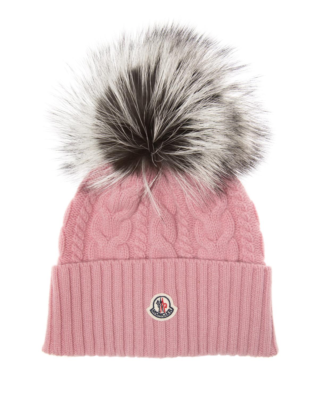 2da5cd3bab0 Moncler Women s Cable-Knit Beanie Hat Pink 85890 1 - Linea Fashion