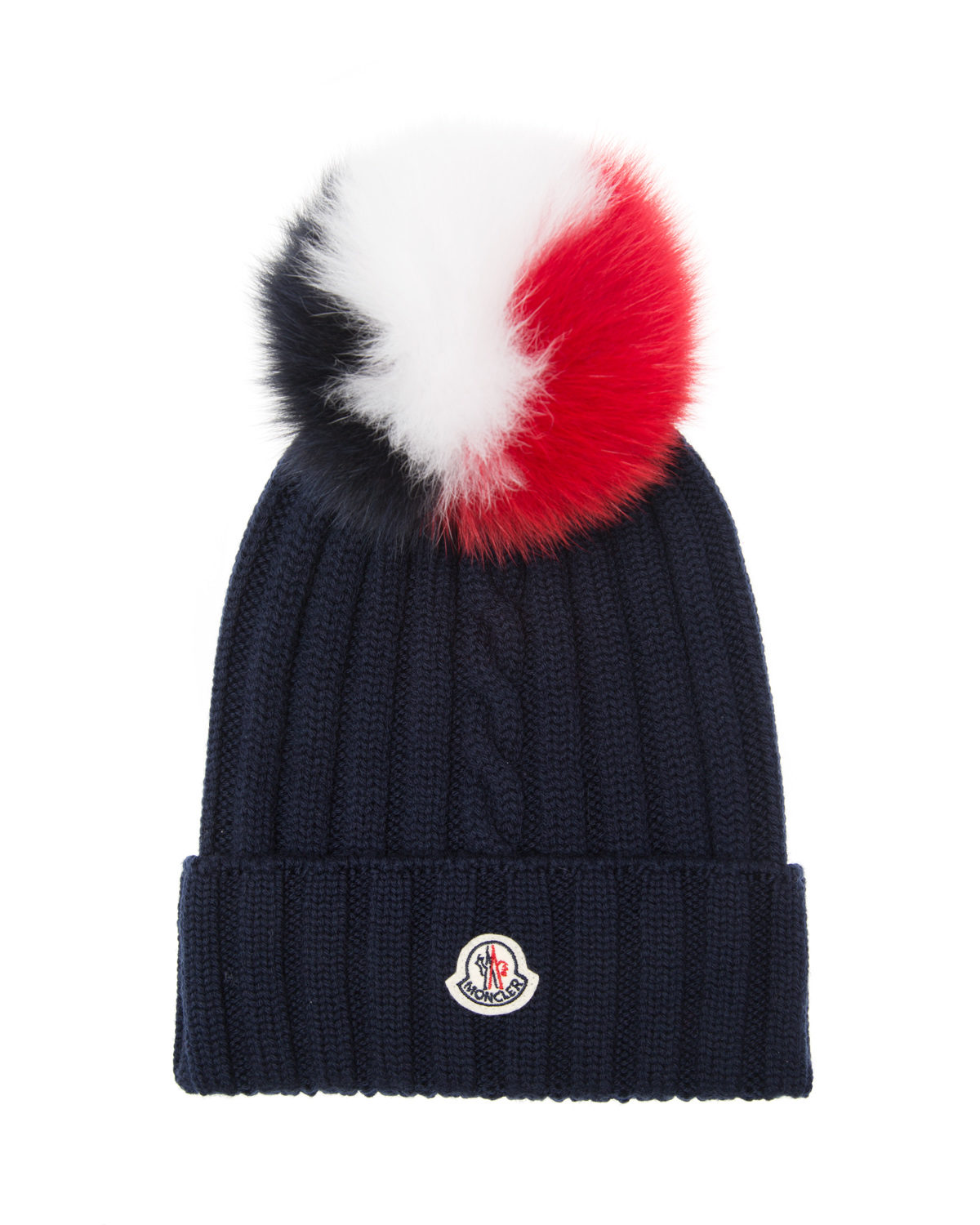 Moncler Women s Rib-knit Beanie Hat Navy - Linea Fashion 8224b2ae788