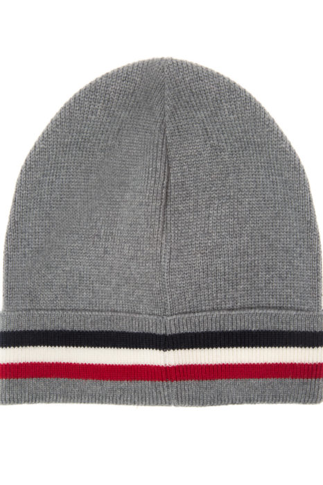 Moncler Men's Plain Wool Beanie Hat Grey