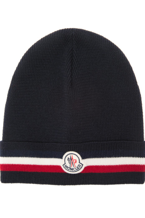 Moncler Men's Plain Wool Beanie Hat Navy