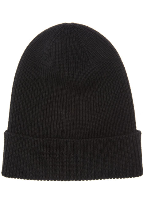 Moncler Men's Plain Wool Beanie Hat Black