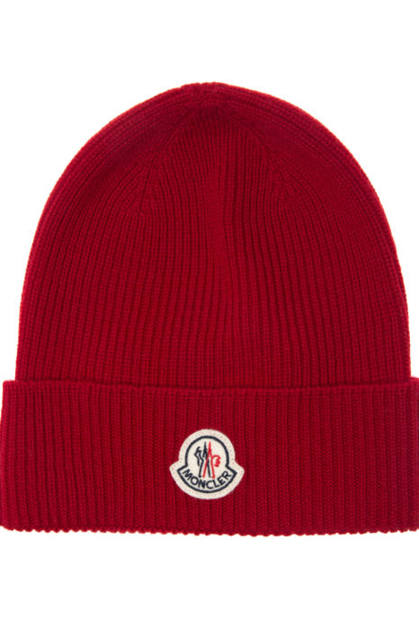 Moncler Men's Plain Wool Beanie Hat Red