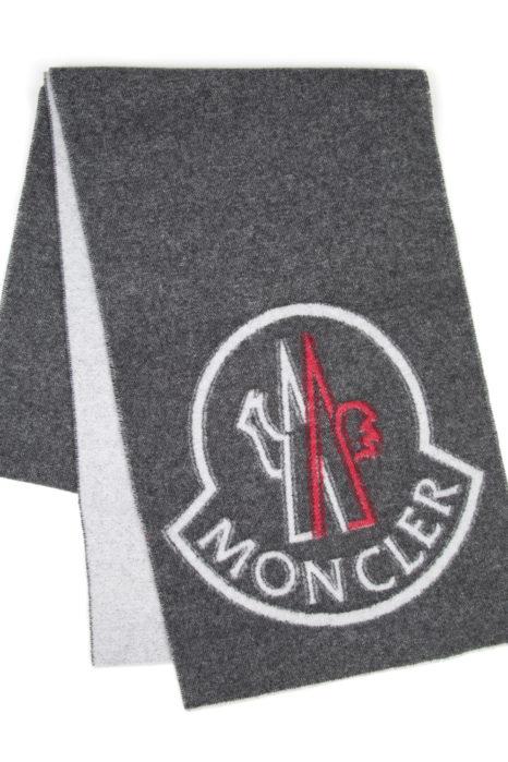 Moncler Men's Plain Logo Scarf Grey