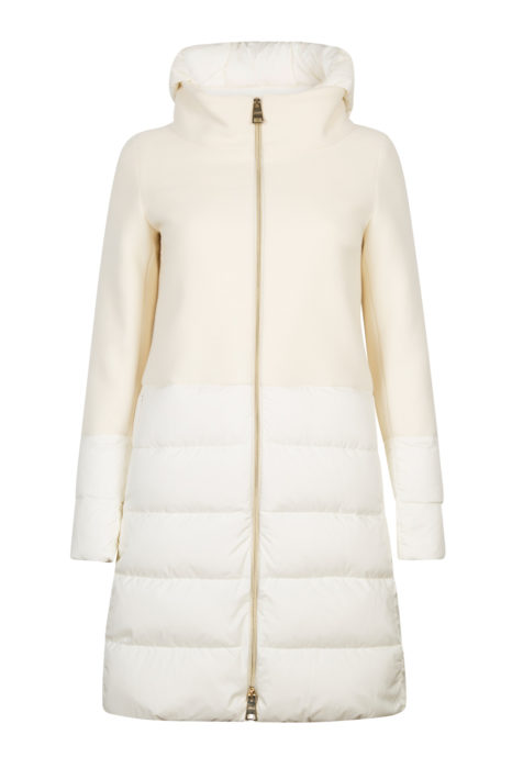 Herno Ladies Quilted Panel Hooded Coat Cream