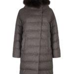 Herno Ladies Quilted Fur Trim Coat Brown