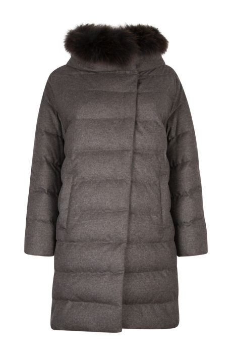 Herno Ladies Quilted Fur Trim Coat Brown