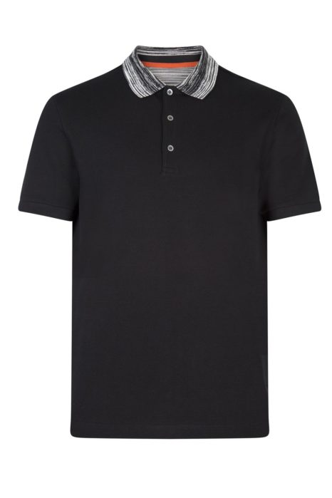 Missoni Men's Cotton Plain Polo Shirt Black