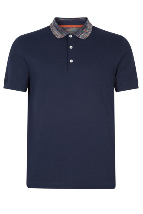 Missoni Men's Cotton Plain Polo Shirt Navy