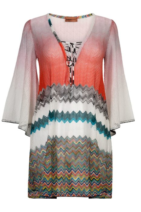 Missoni Women's Zig Zag Lace-Up Kaftan Orange
