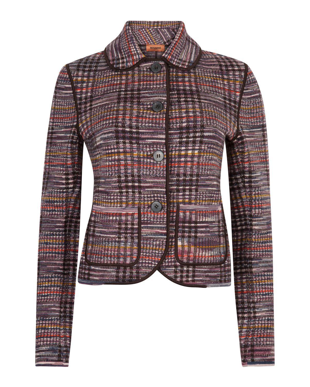 3831135d77 Missoni Women s Checked Blazer Jacket Brown - Linea Fashion