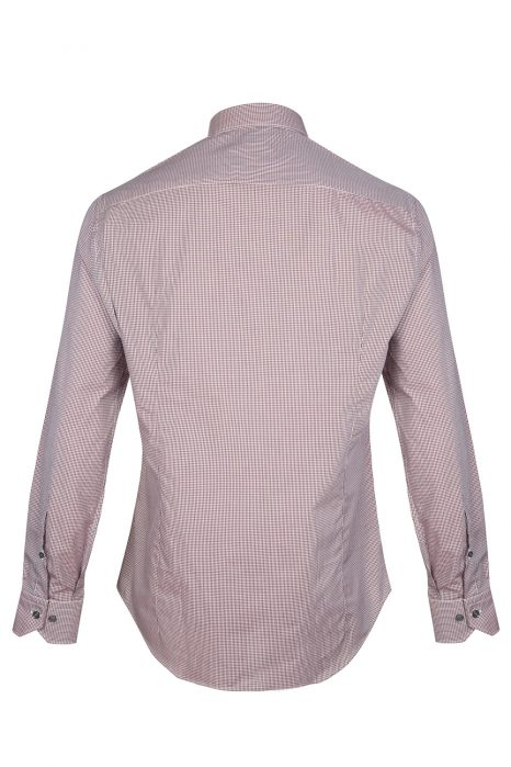 Pal Zileri Men's Check Cotton Shirt Burgundy