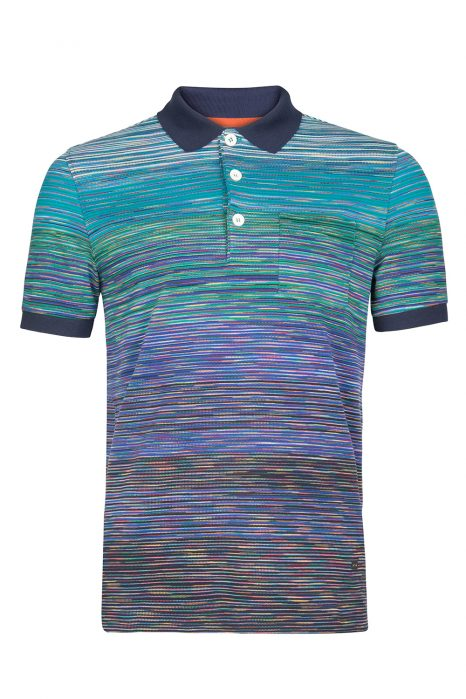 Missoni Men's Cotton Space-Dye Polo Shirt Blue
