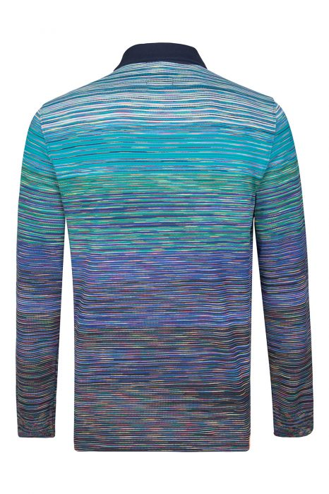 Missoni Men's Cotton Space-Dye Long Polo Shirt Blue