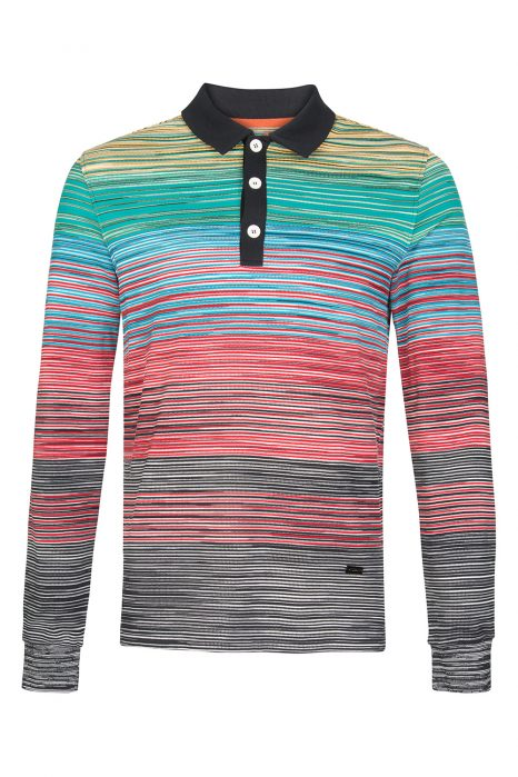 Missoni Men's Cotton Space-Dye Long Polo Shirt Yellow