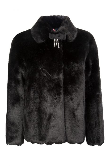 Blumarine Women's Luxury Faux Fur Jacket Black