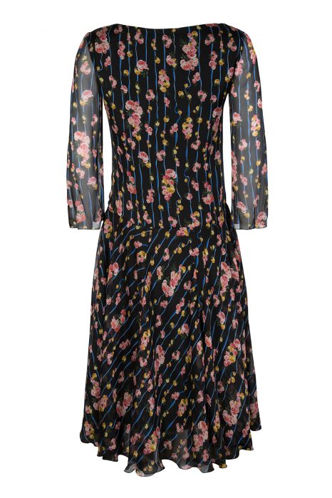 Blumarine Women's Boat Neck Floral Dress Black