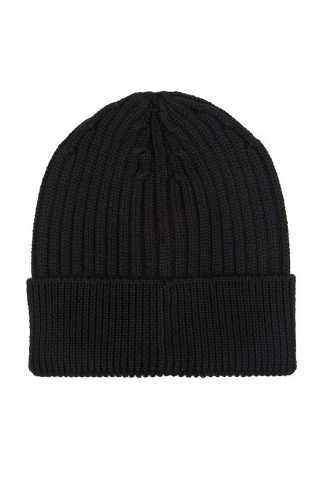 Moncler Grenoble Men's Ribbed Beanie Hat Black