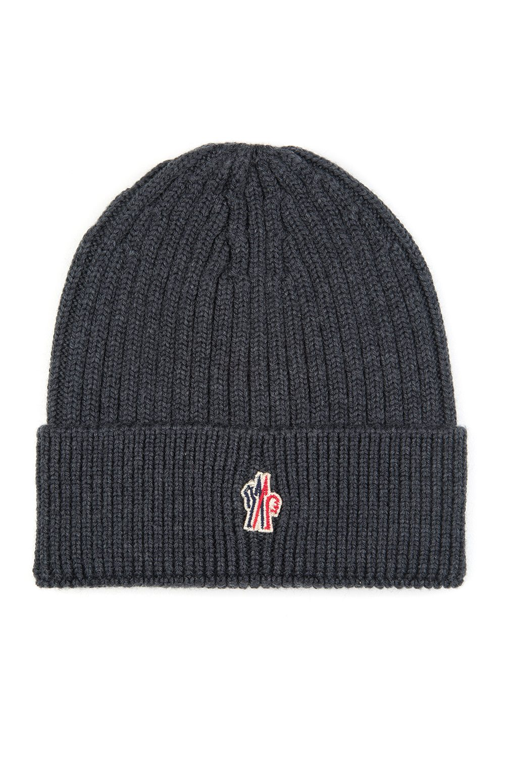 Moncler Grenoble Men s Ribbed Beanie Hat Grey - Linea Fashion b4e8eae863a