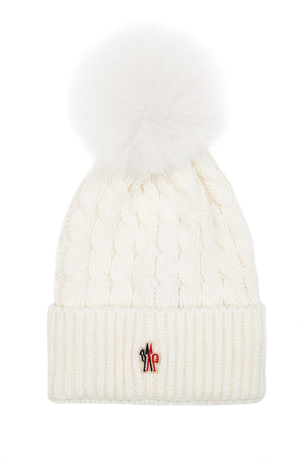 Moncler Grenoble Women s Pom-Pom Beanie Hat Cream - Linea Fashion 3e2d8432fbe