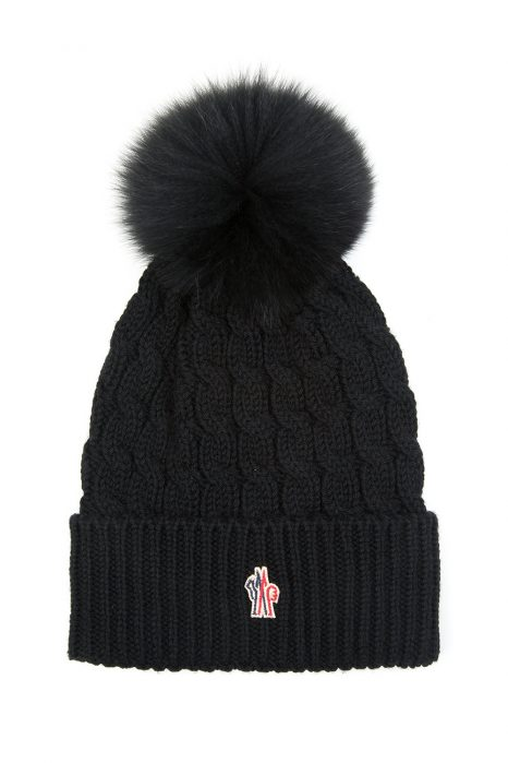 Moncler Grenoble Women's Pom-Pom Beanie Hat Black
