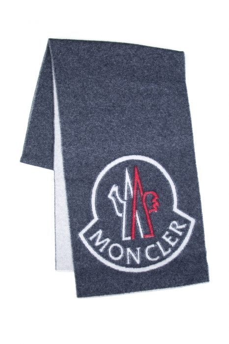 Moncler Men's Plain Logo Scarf Dark Grey