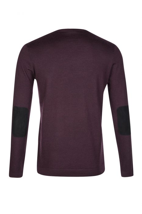 John Varvatos Elbow Patch Jumper Wine Red