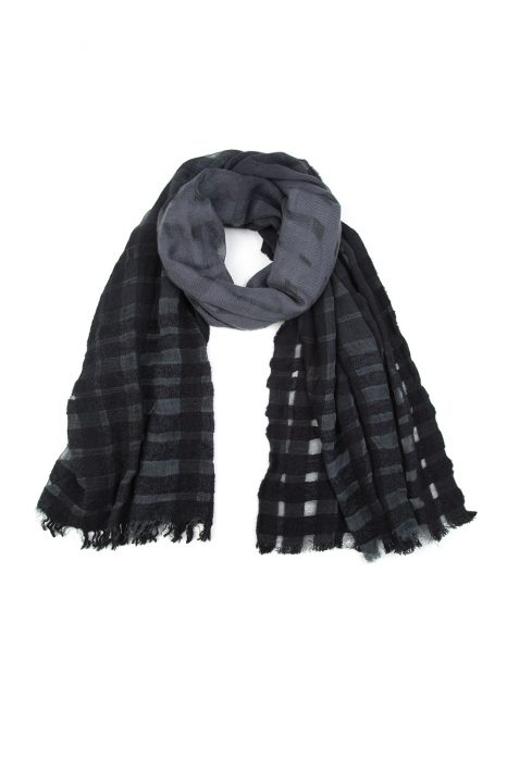 John Varvatos Men's Check Tartan Scarf Grey