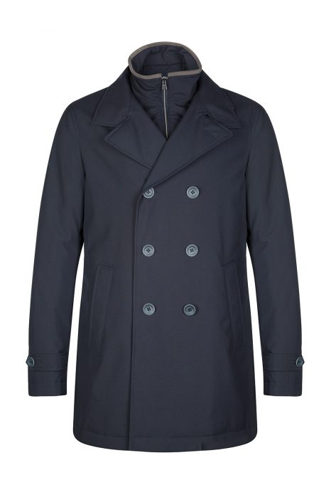 Herno Men's Double Breasted Rain Coat Navy Blue