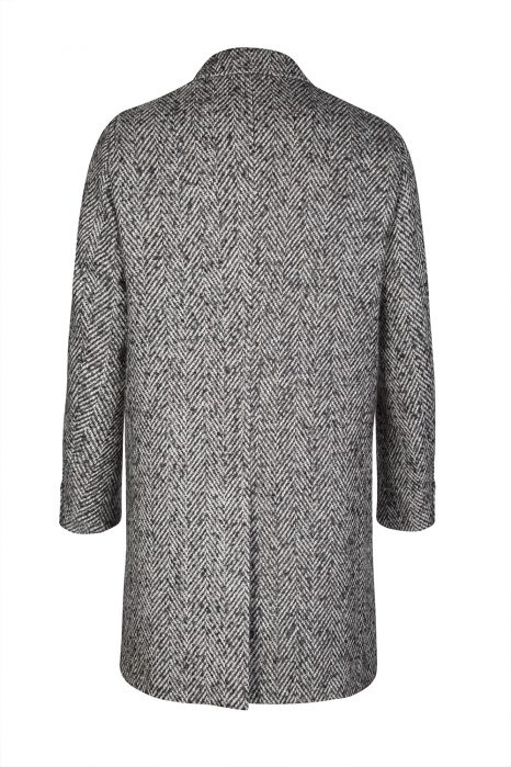 Sand Men's Herringbone Tweed Long Coat Black