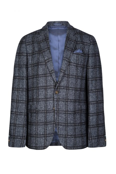 Sand Men's Check Wool Blazer Navy