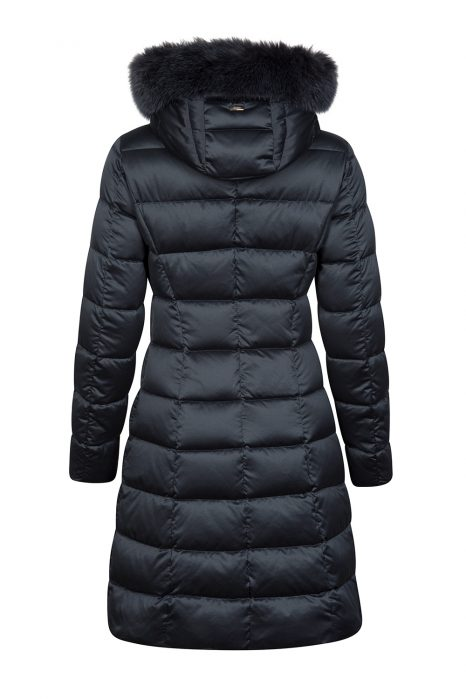 Herno Women's Satin Nylon Quilted Down Coat Navy