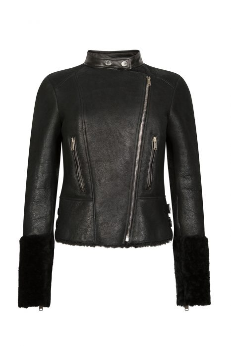 Belstaff Farnworth Women's Shearling Biker Jacket Black