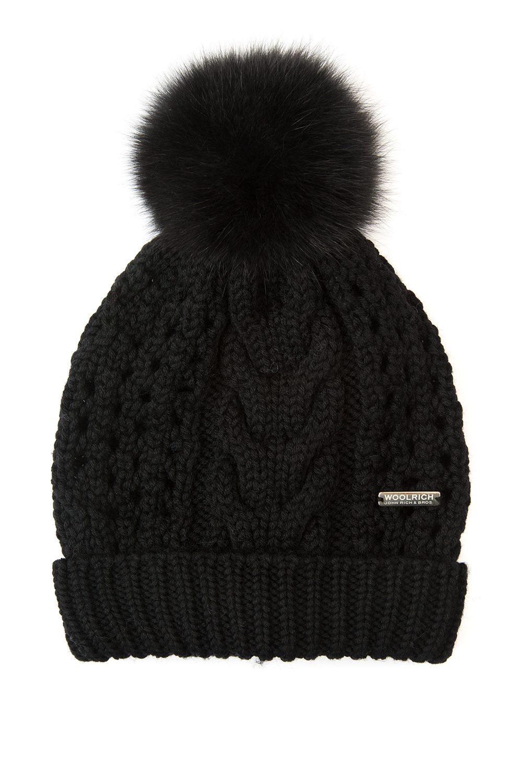 Woolrich Serenity Ladies Pom-pom Beanie Black - Linea Fashion ff6bf60f857