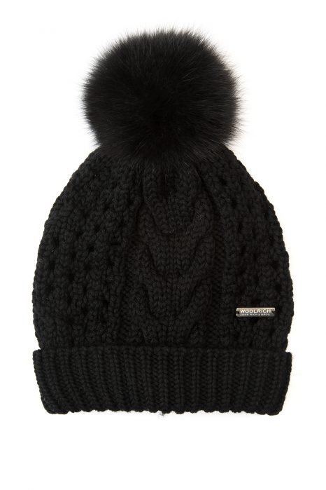 Woolrich Serenity Ladies Pom-pom Beanie Black