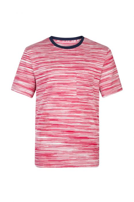 Missoni Men's Contrast Collar Striped T-shirt Red