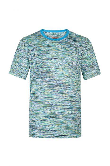 Missoni Men's Contrast Collar Striped Top Blue