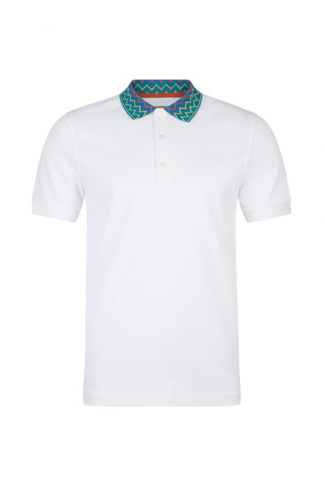 Missoni Men's Zig Zag Collar Polo Shirt White