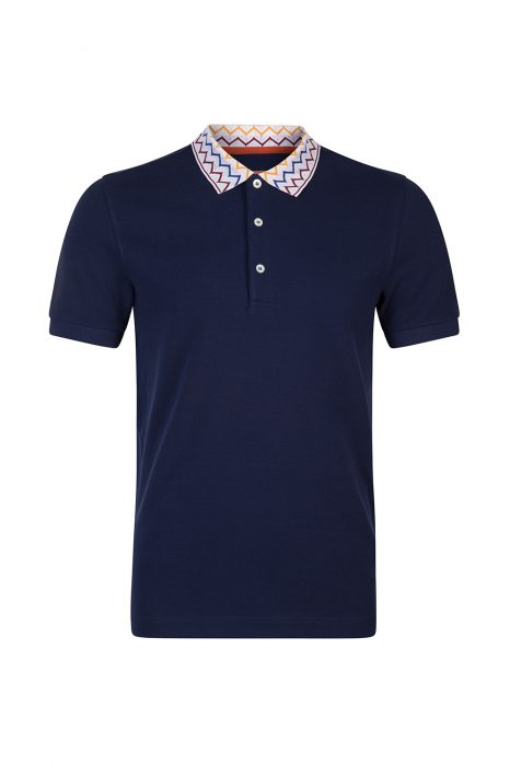Missoni Men's Contrast collar Polo Shirt Navy