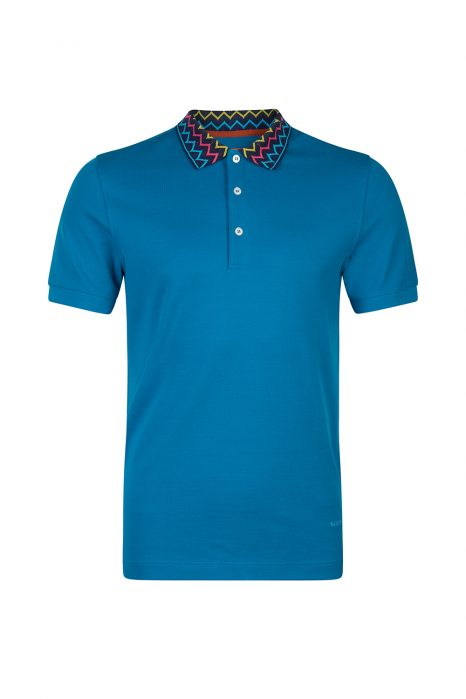 Missoni Men's Zig Zag Collar Polo Shirt Blue