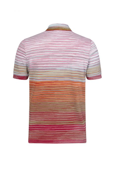 Missoni Men's Shaded Stripe Polo Shirt Orange