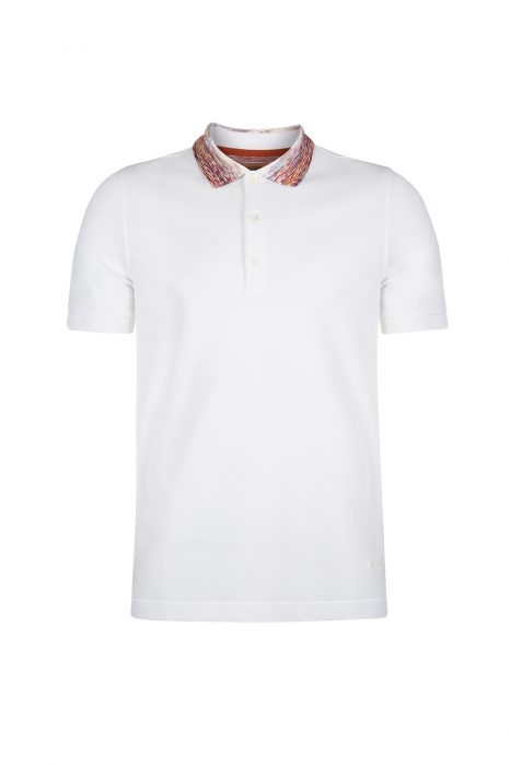 Missoni Men's Contrast Collar Polo Shirt White