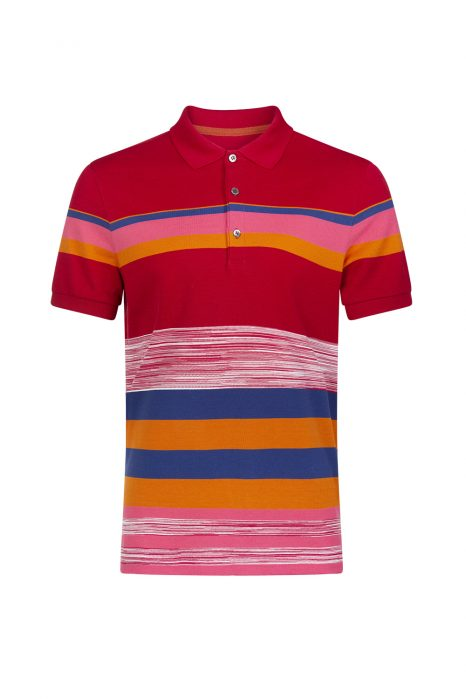 Missoni Men's Mixed Stripe Polo Shirt Red
