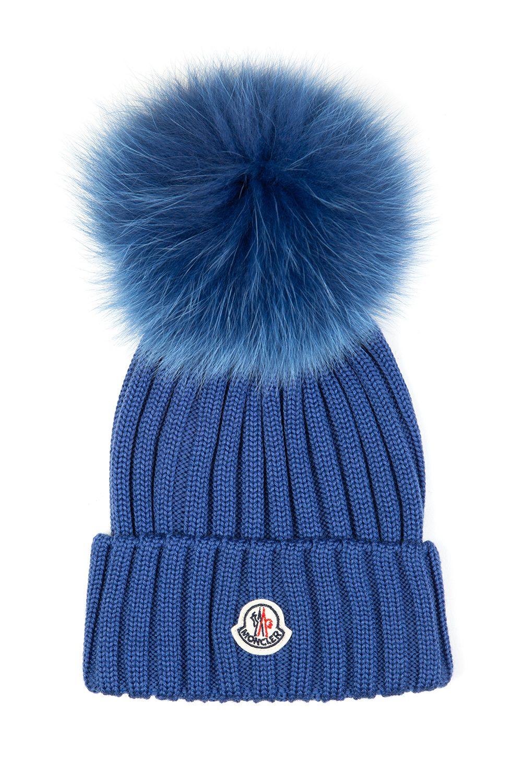 Moncler Women s Pom-pom Beanie Hat Blue - Linea Fashion 841e57f08bb